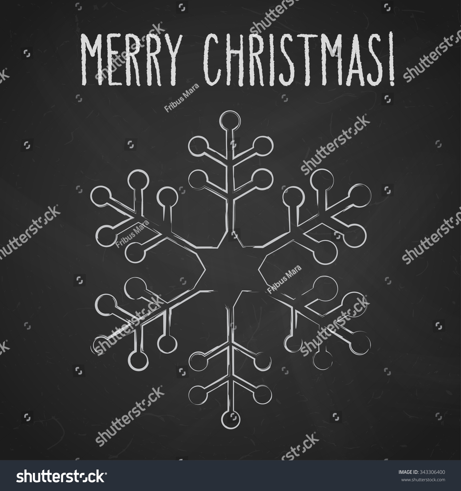 One Snowflake And Hand Written Christmas Greetings Over Black