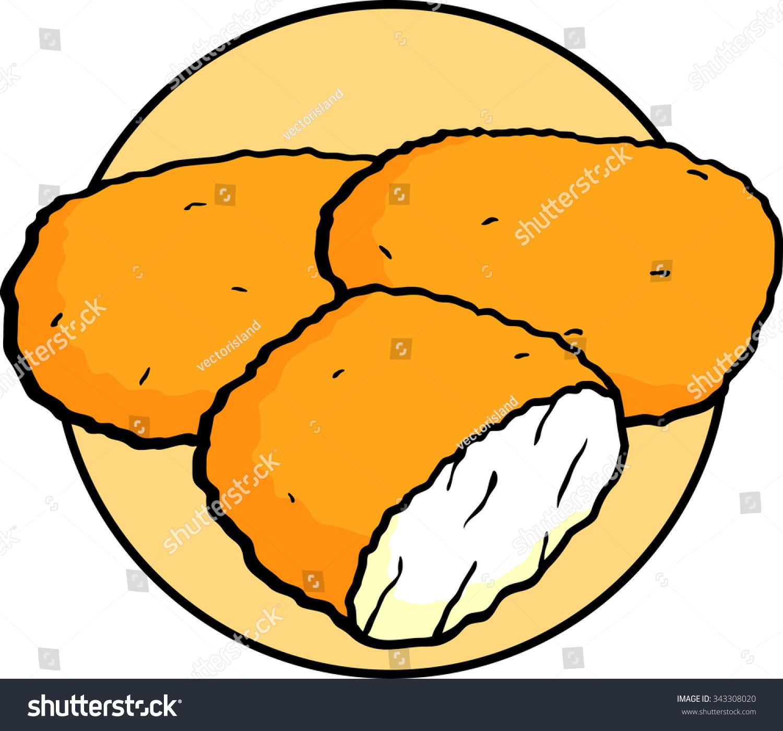 breaded deep fried chicken nuggets stock vector 343308020 shutterstock rh shutterstock com