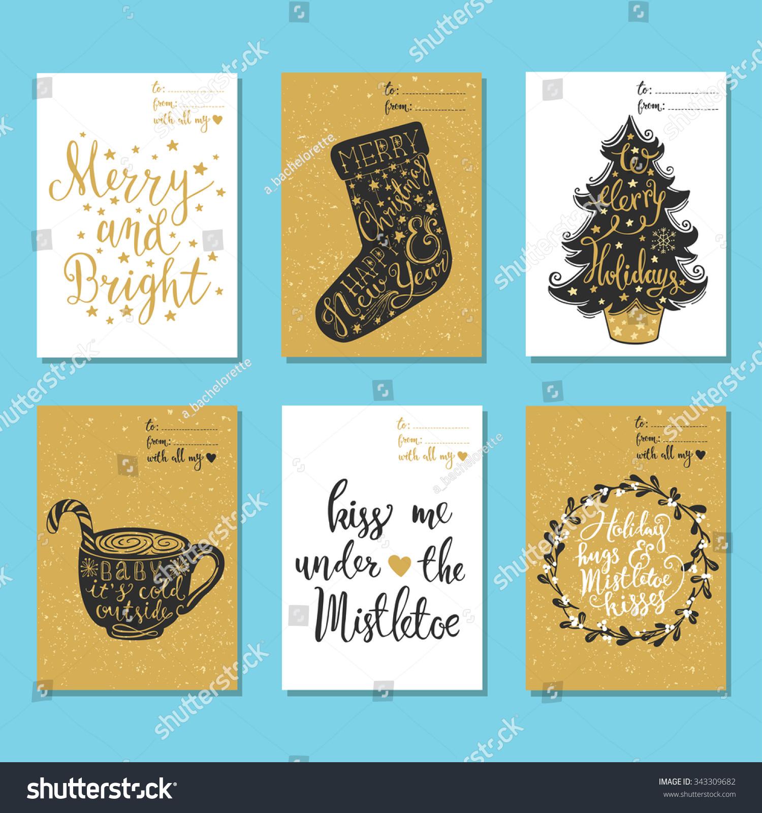 Set 6 Creative Hand Drawn Christmas Stock Vector Royalty Free