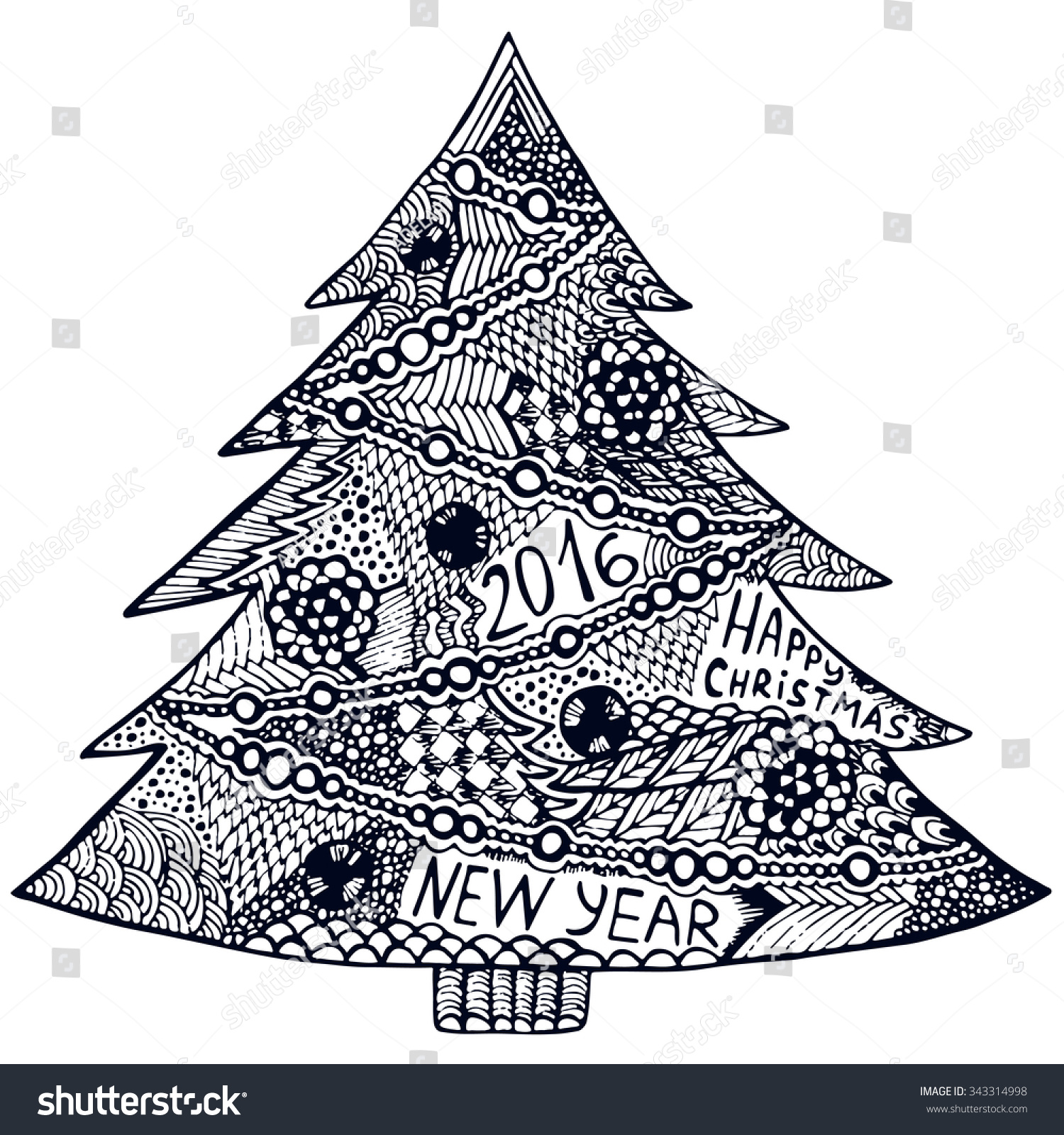 Christmas Trees Zentangle Elements Zentangle Christmas Stock Vector ...