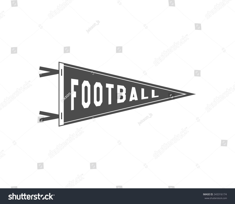 College Football Pennant Banner Icon. Sport Flag, Training Camp Emblem.  University Team Label