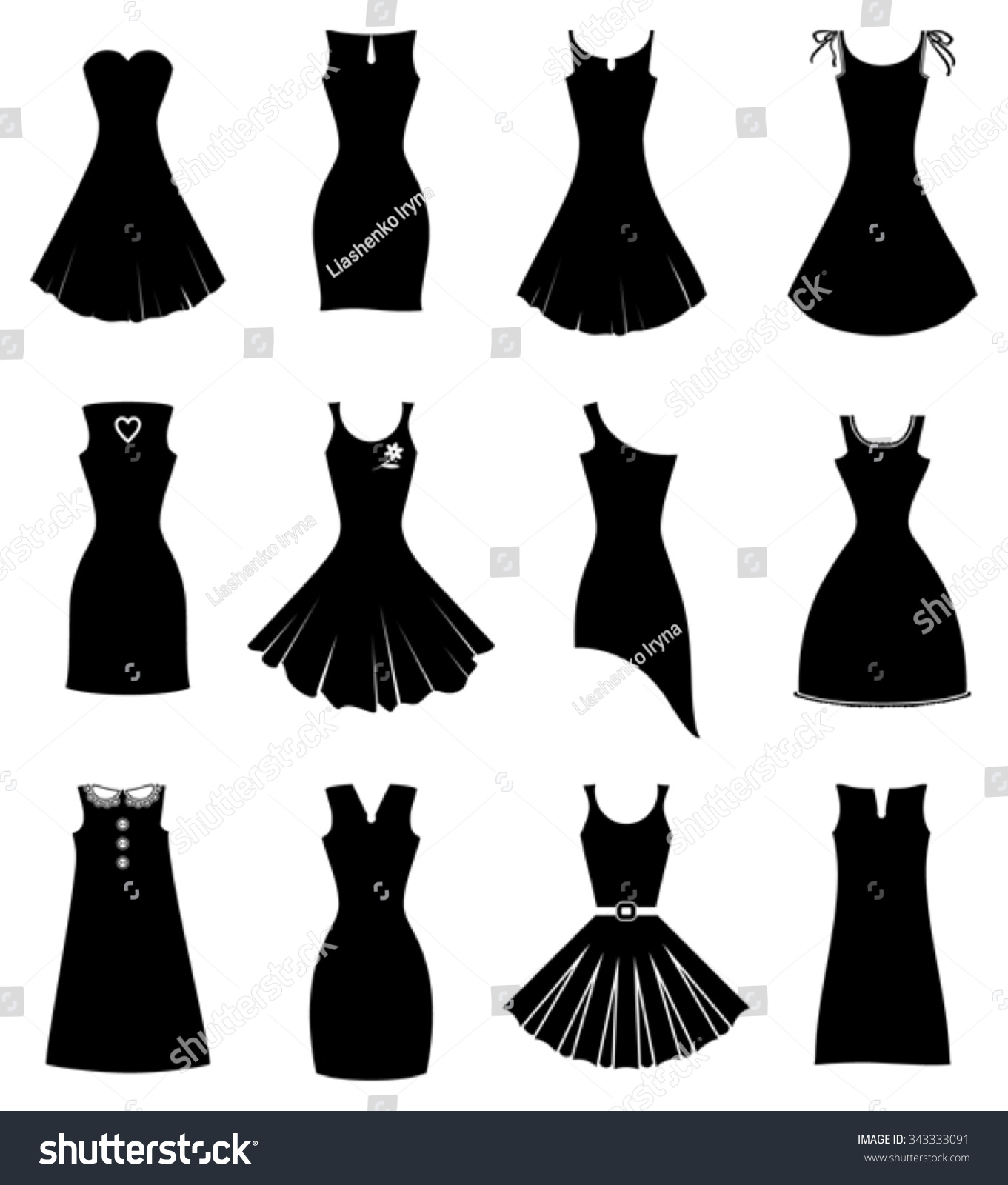 Different Black Party Dress Silhouette Set Stock Vector