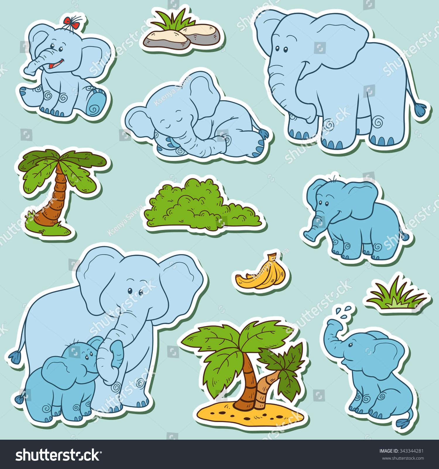 Color Set Cute Animals Objects Vector Stock Vector (2018) 343344281 ...