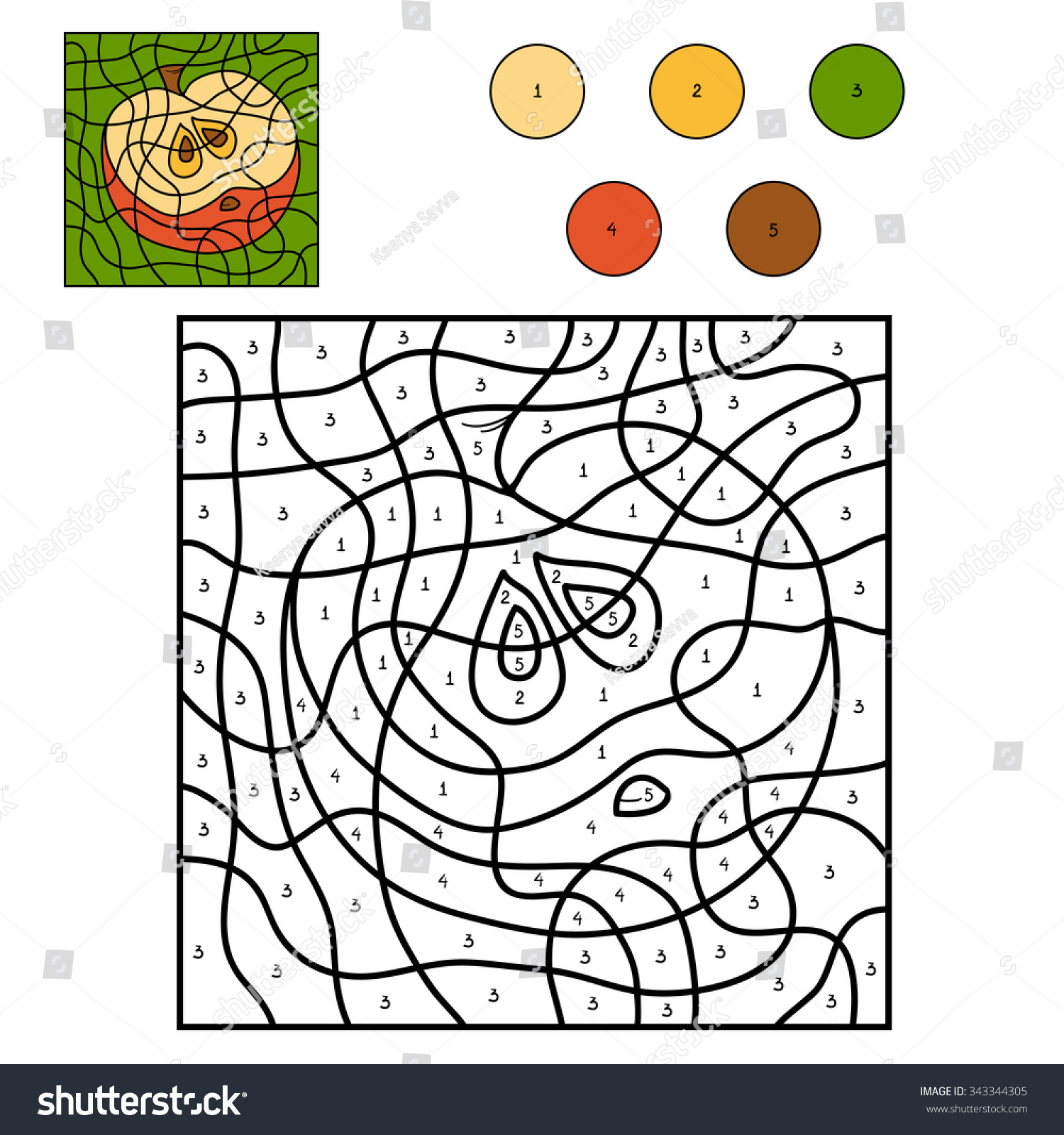 Game color by numbers - Color By Number Education Game For Children Fruits And Vegetables Apple