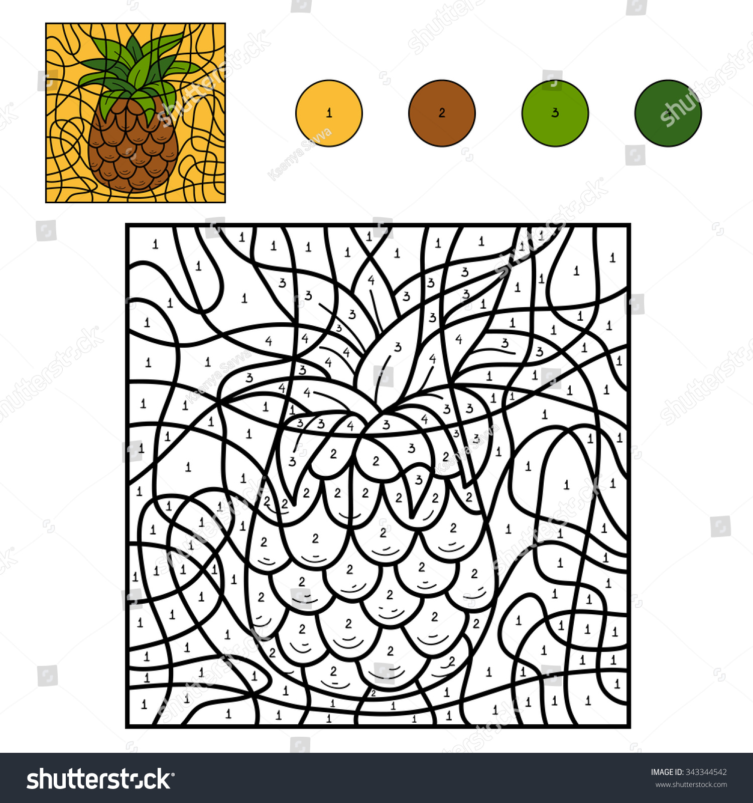 Game color by numbers - Color By Number Education Game For Children Fruits And Vegetables Pineapple