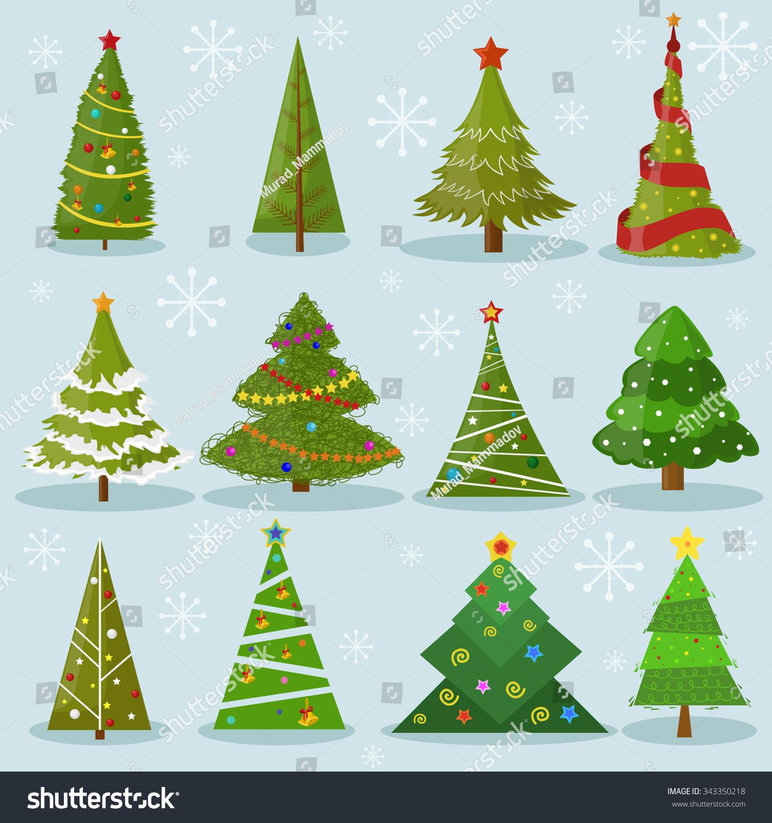 christmas trees vector image design set stock vector 343350218