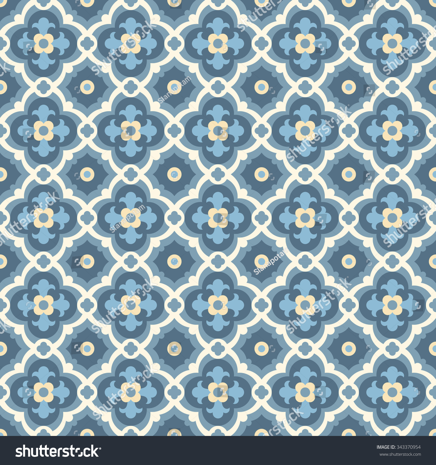 Floor Tiles Seamless Vintage Pattern Quatrefoils Stock Vector HD ...