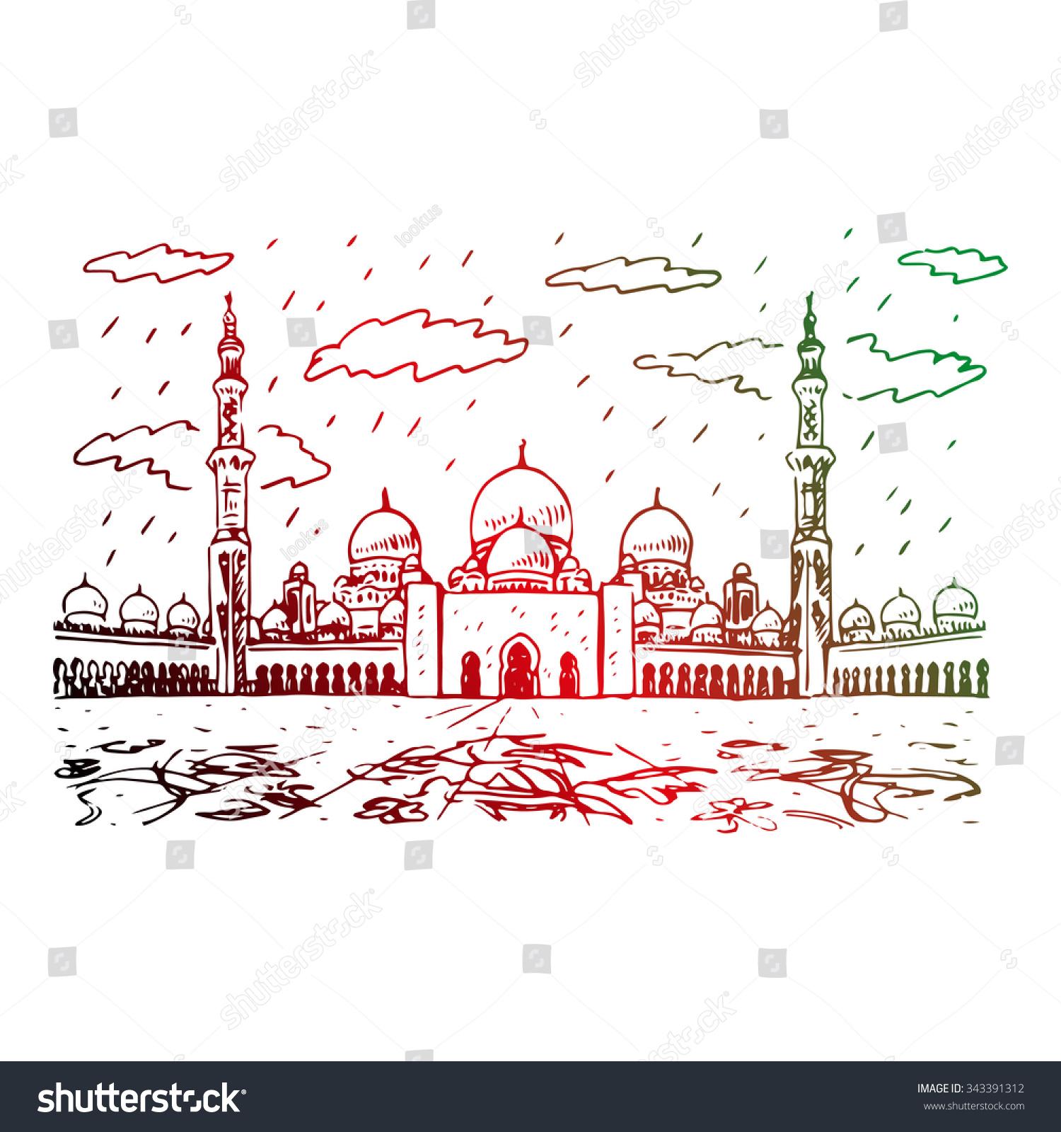 Exterior: Sheikh Zayed Grand Mosque Abu Dhabi Stock Vector 343391312