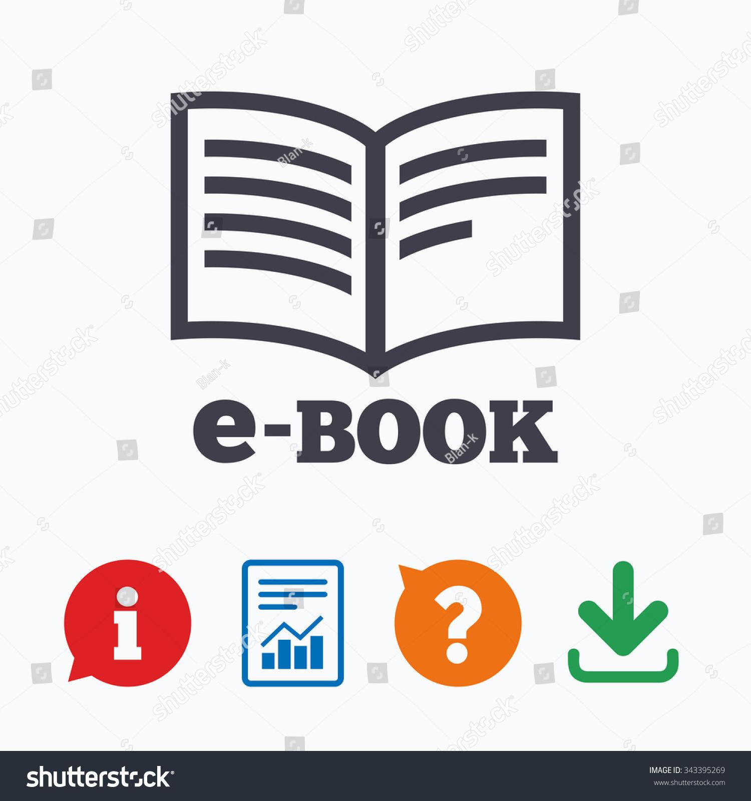 E Book Sign Icon Electronic Book Symbol Stock Vector
