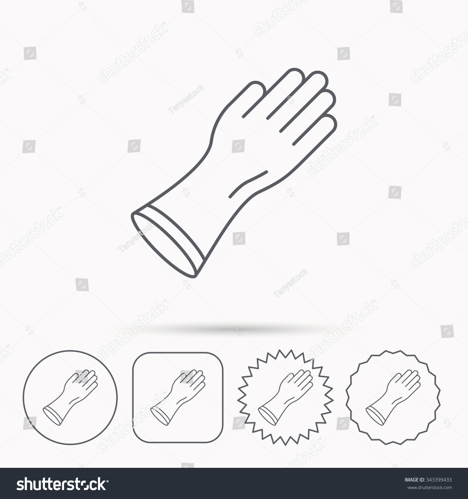 Rubber Gloves Icon Latex Hand Protection Stock Vector (Royalty Free