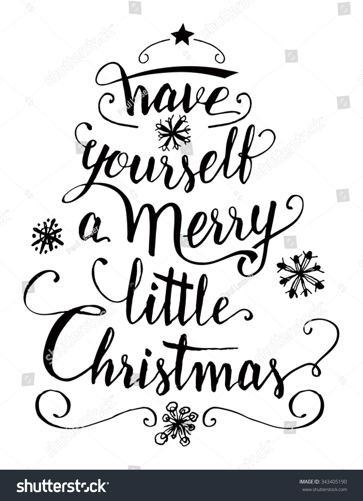 Have Yourself Merry Little Christmas Calligraphy Stock Vector
