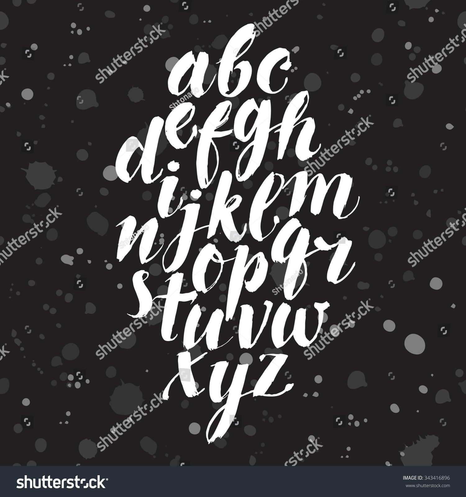 Hand Drawn Brush Calligraphy Vector Abc Stock Vector