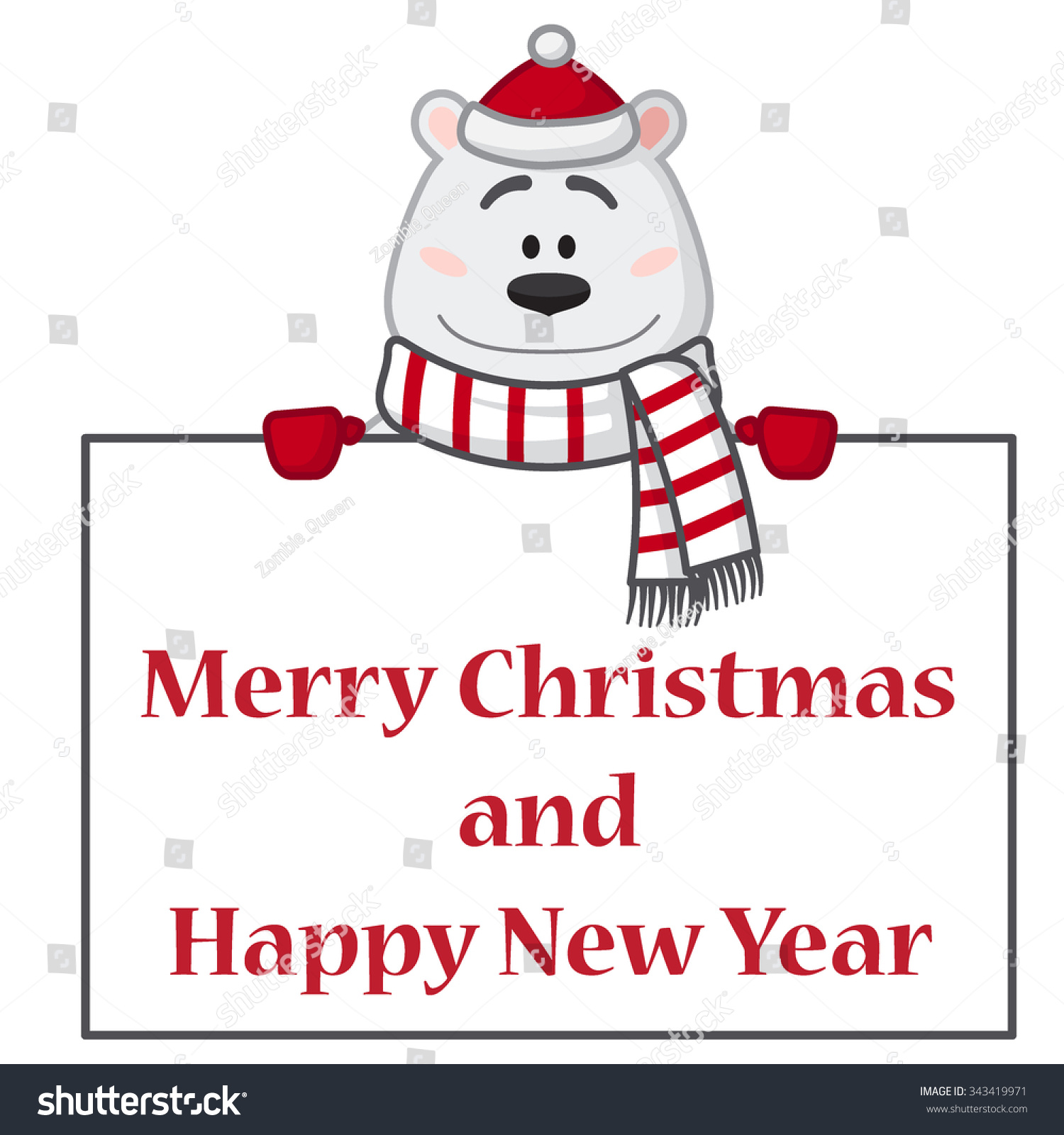 Christmas Card Decorative Element Cute Bear Stock Vector (Royalty ...