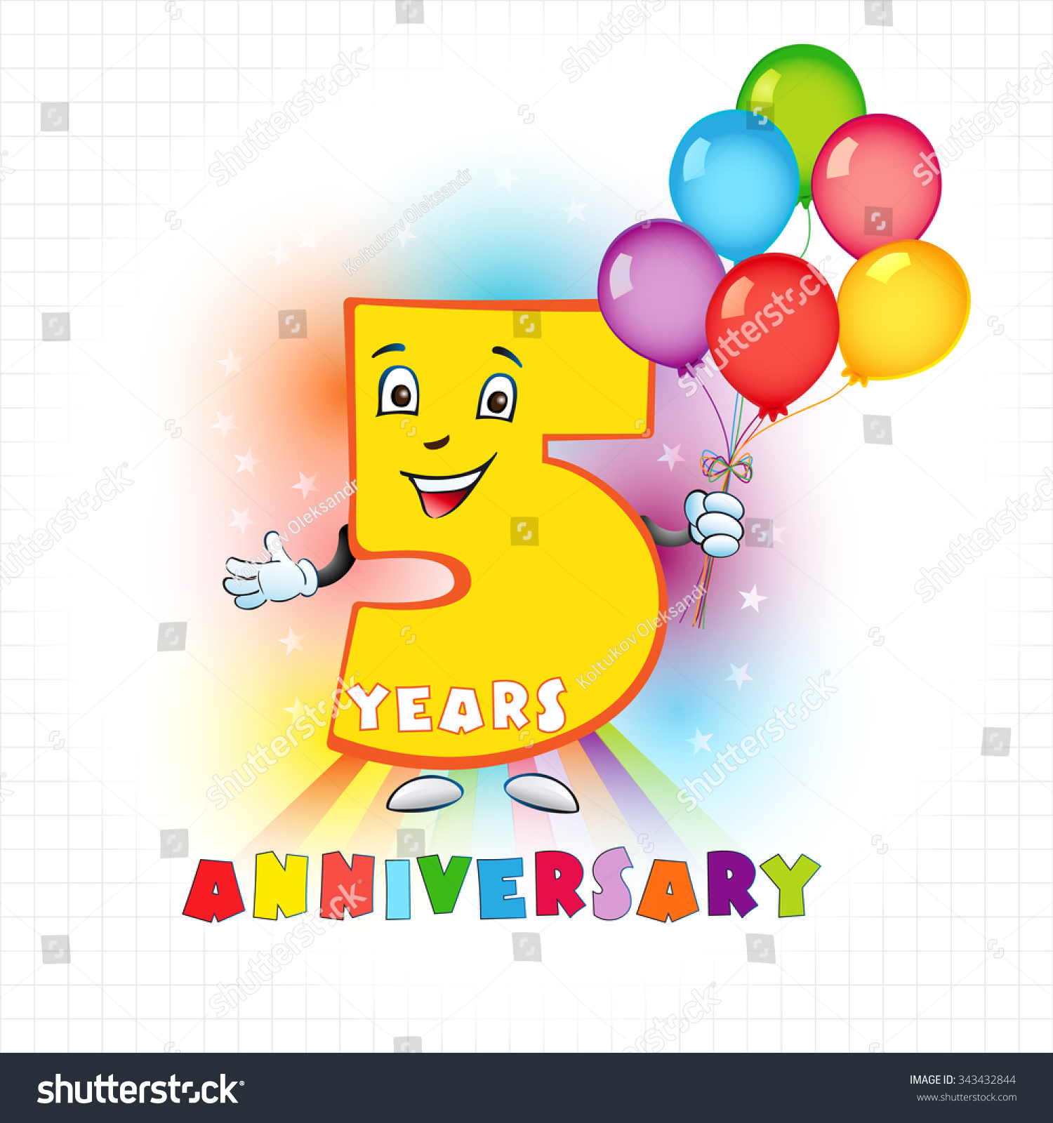 Five Years Old Animated Logotype 5 Stock Vector
