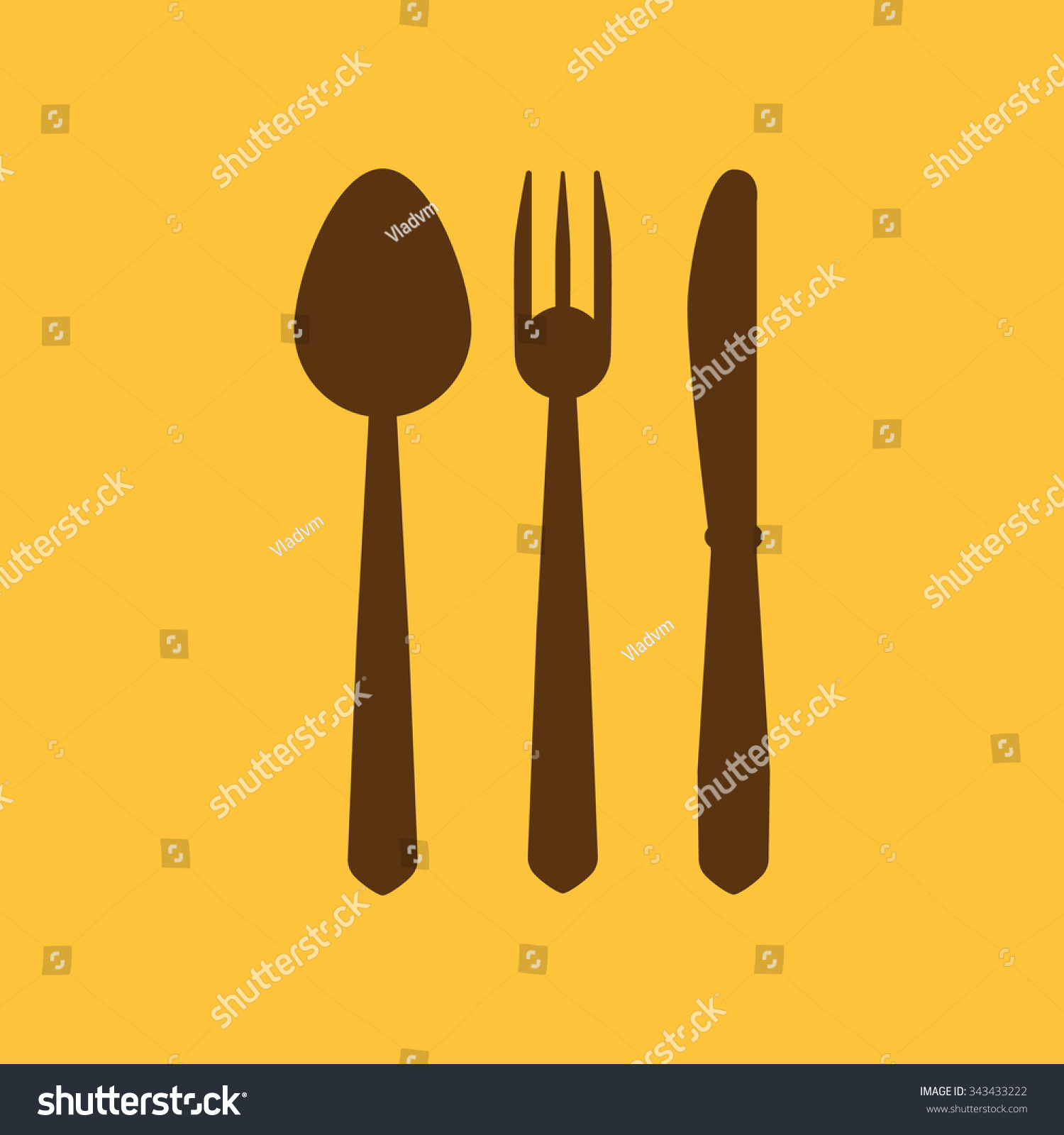 The Spoon And Fork And Knife Icon Spoon And Fork And Knife Symbol