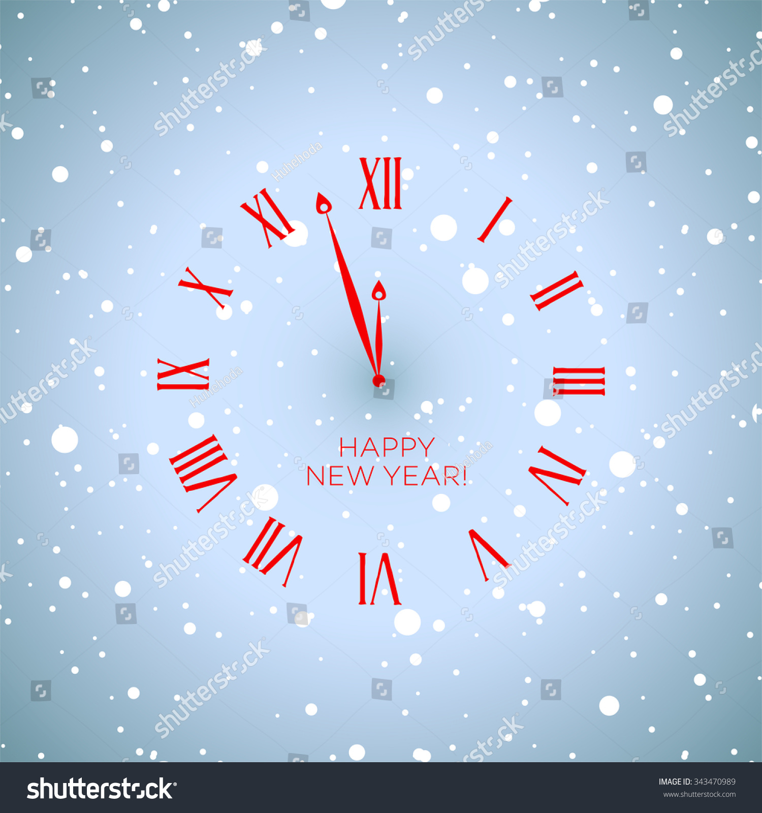 red clock happy new year in the snow with snowflakes blue background vector