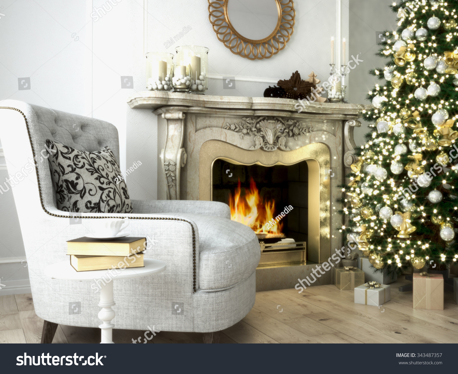 christmas living room tree fireplace 3d stock illustration