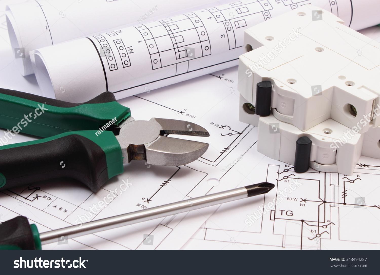 Royalty-free Metal pliers, screwdriver, electric… #343494287 Stock ...