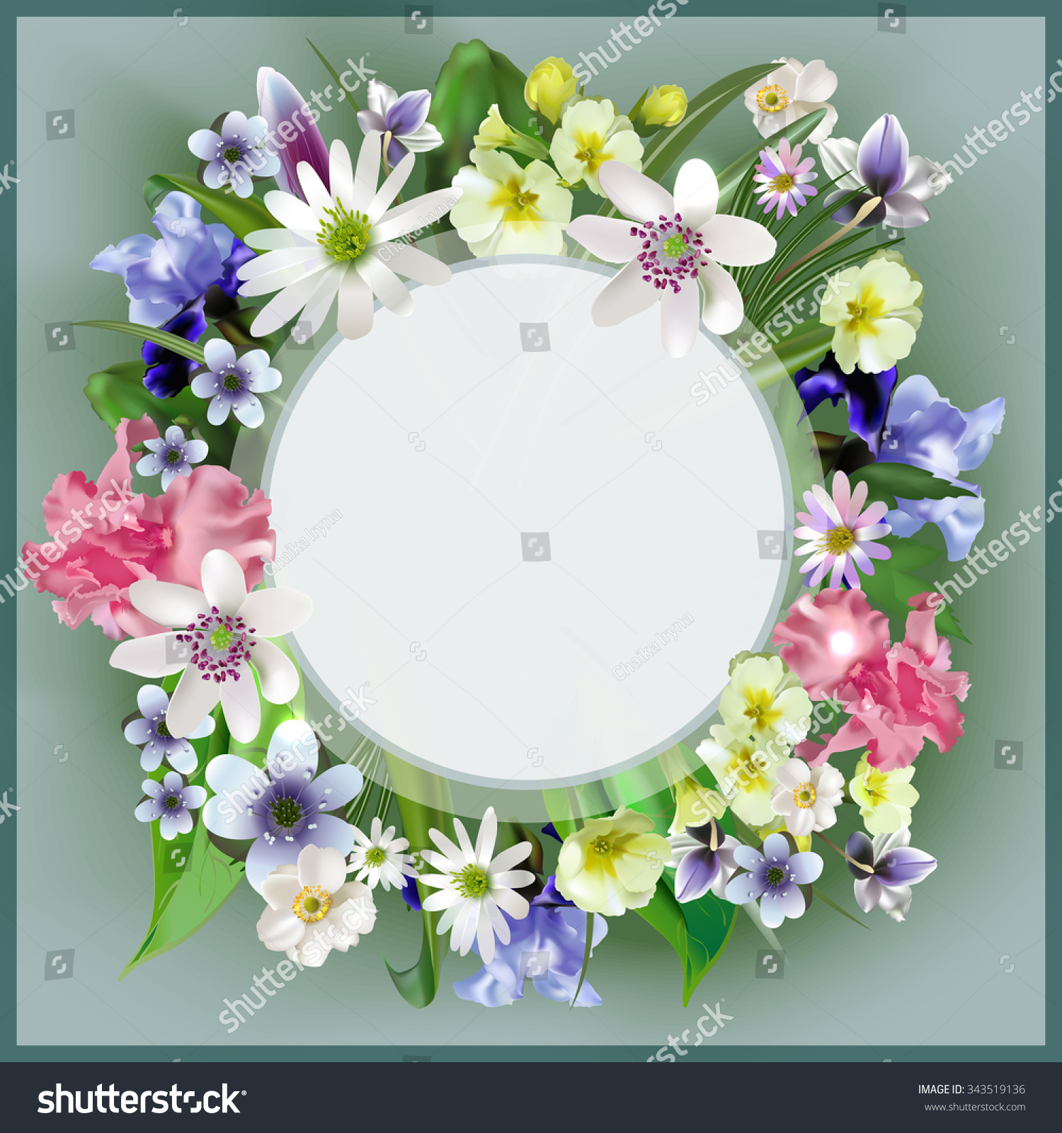 Bouquet Spring Flowers Forest Elegant Frame Stock Vector Hd Royalty
