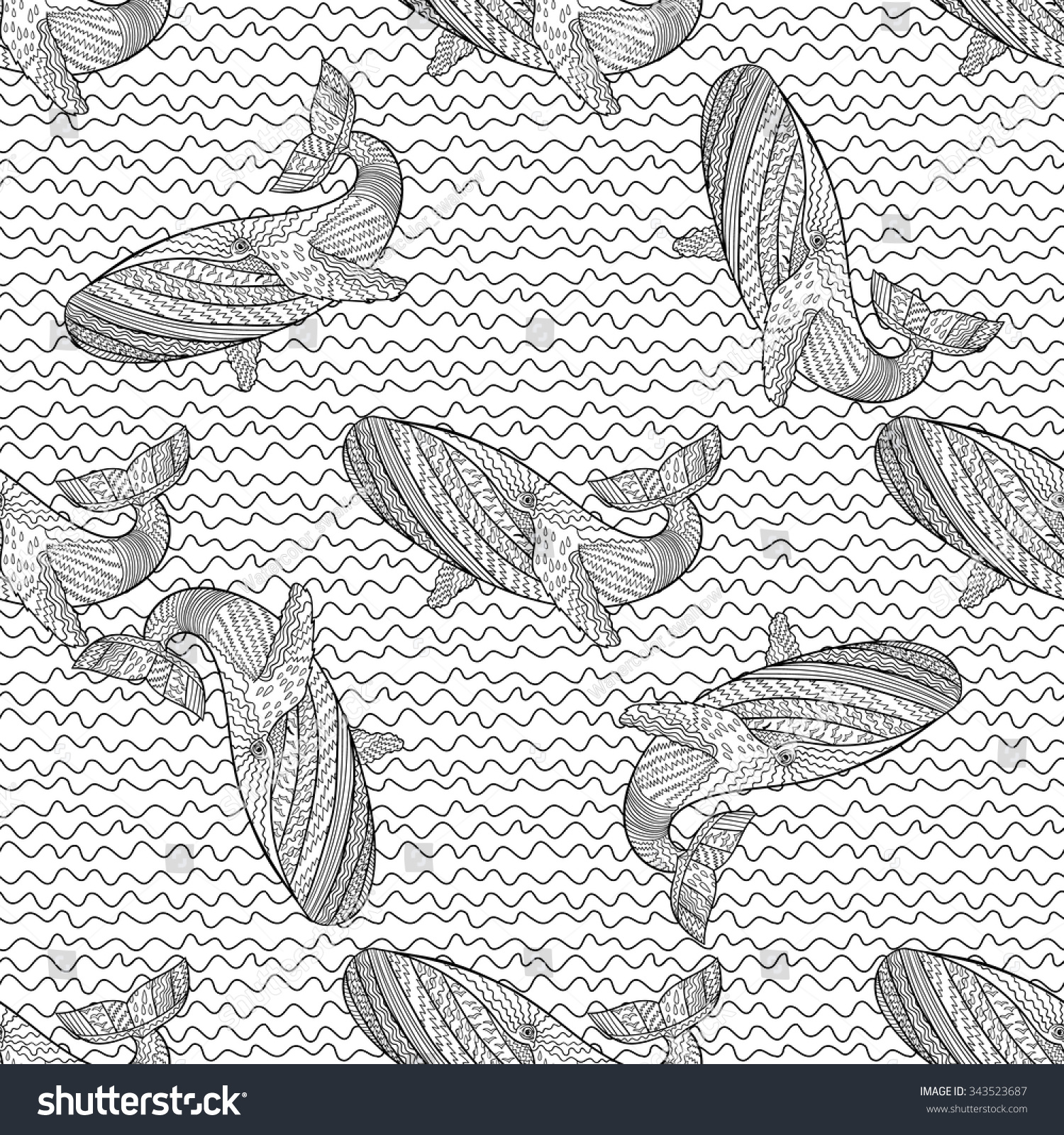 Oceanic animal zentangle seamless pattern hand stock for Zentangle tile template