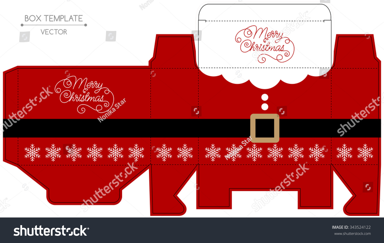 Christmas Gift Box Design Die Cut Stock Vector Royalty Free 343524122