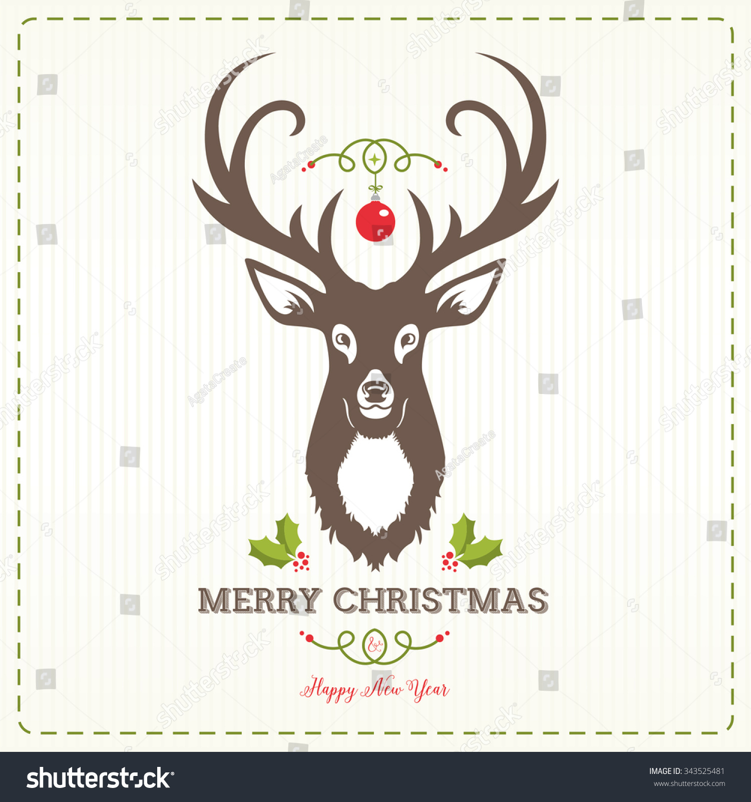 Christmas Design With Reindeer Stock Vector Illustration ...