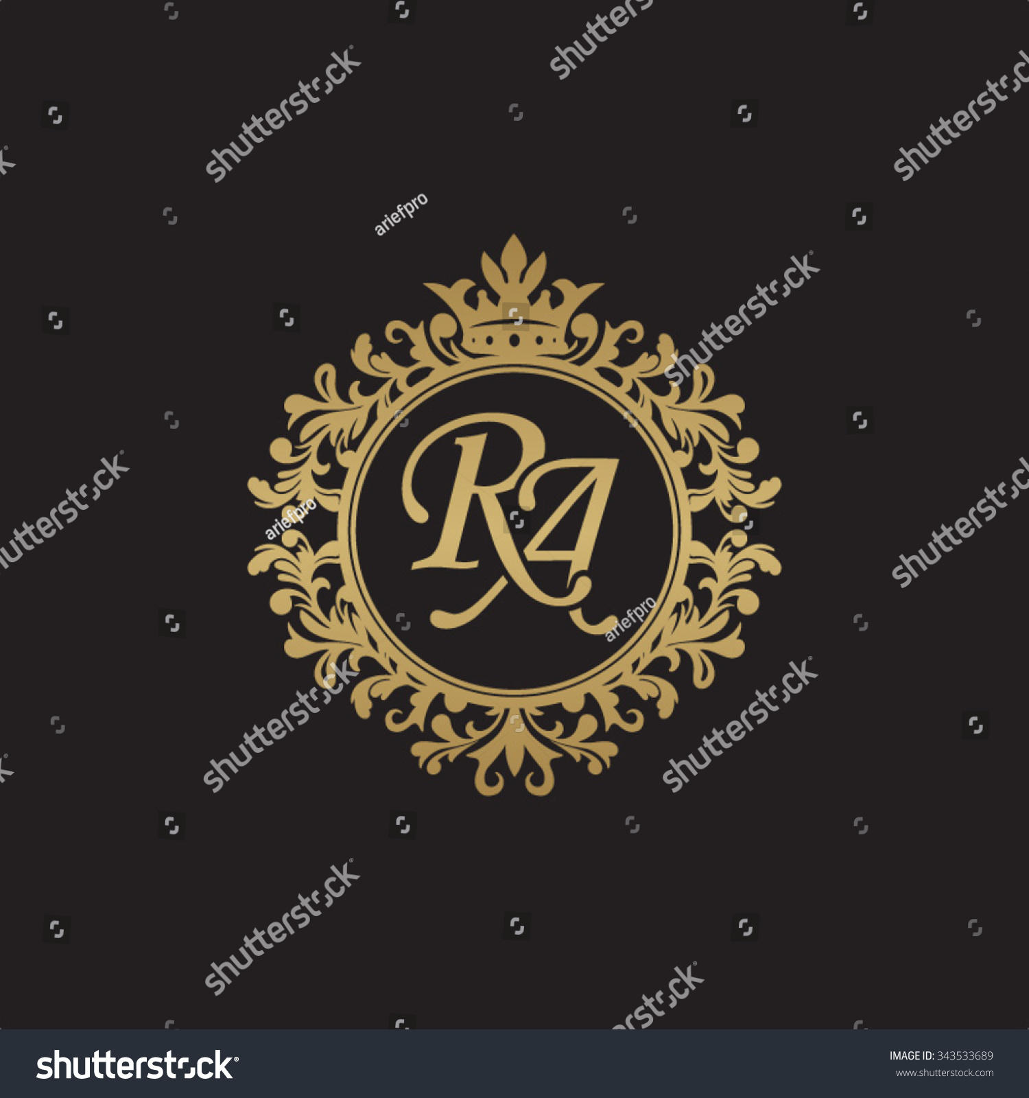RA Initial Luxury Ornament Monogram Logo Stock-Vektorgrafik ...