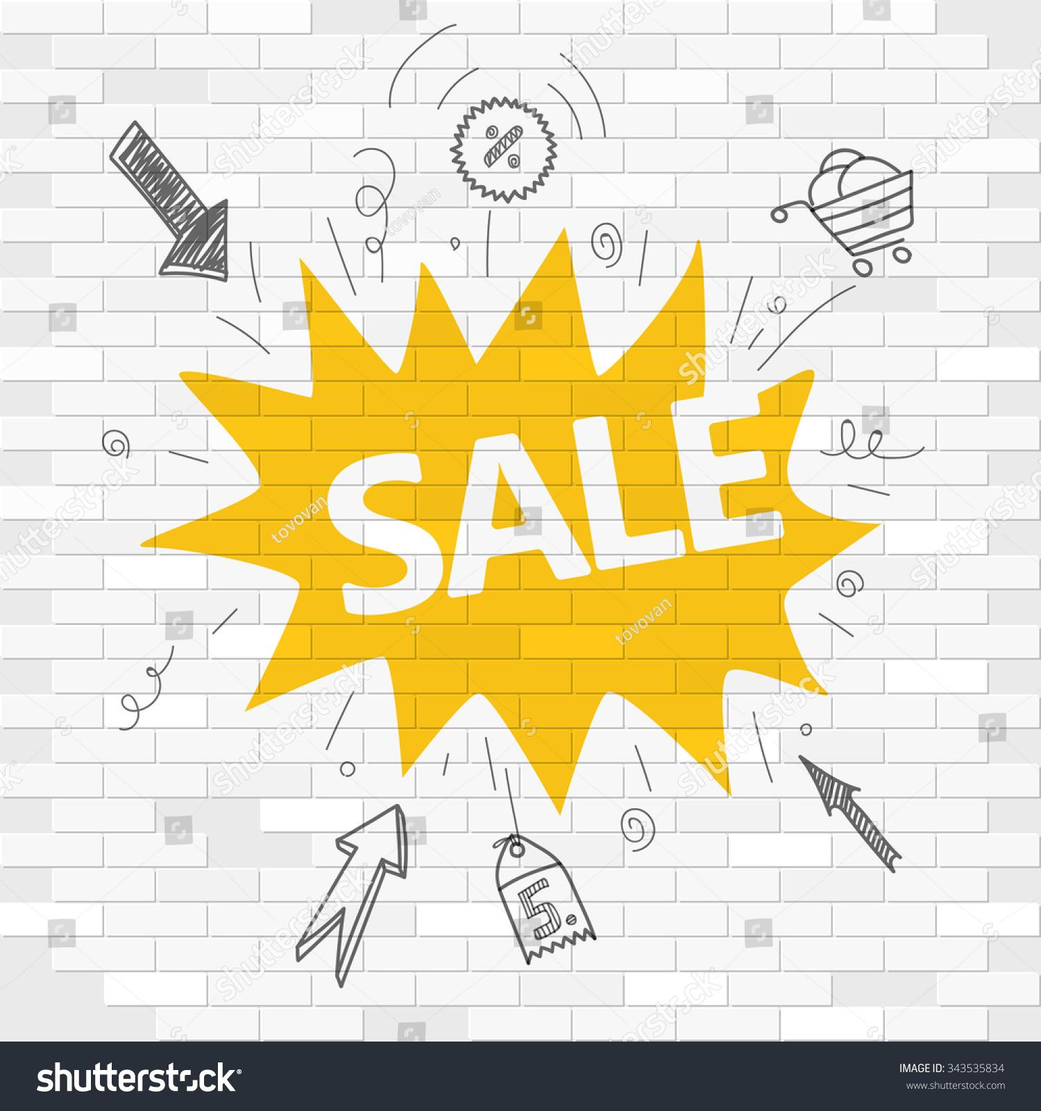 White Brick Wall Graffiti Label Sale Stock Photo (Photo, Vector ...