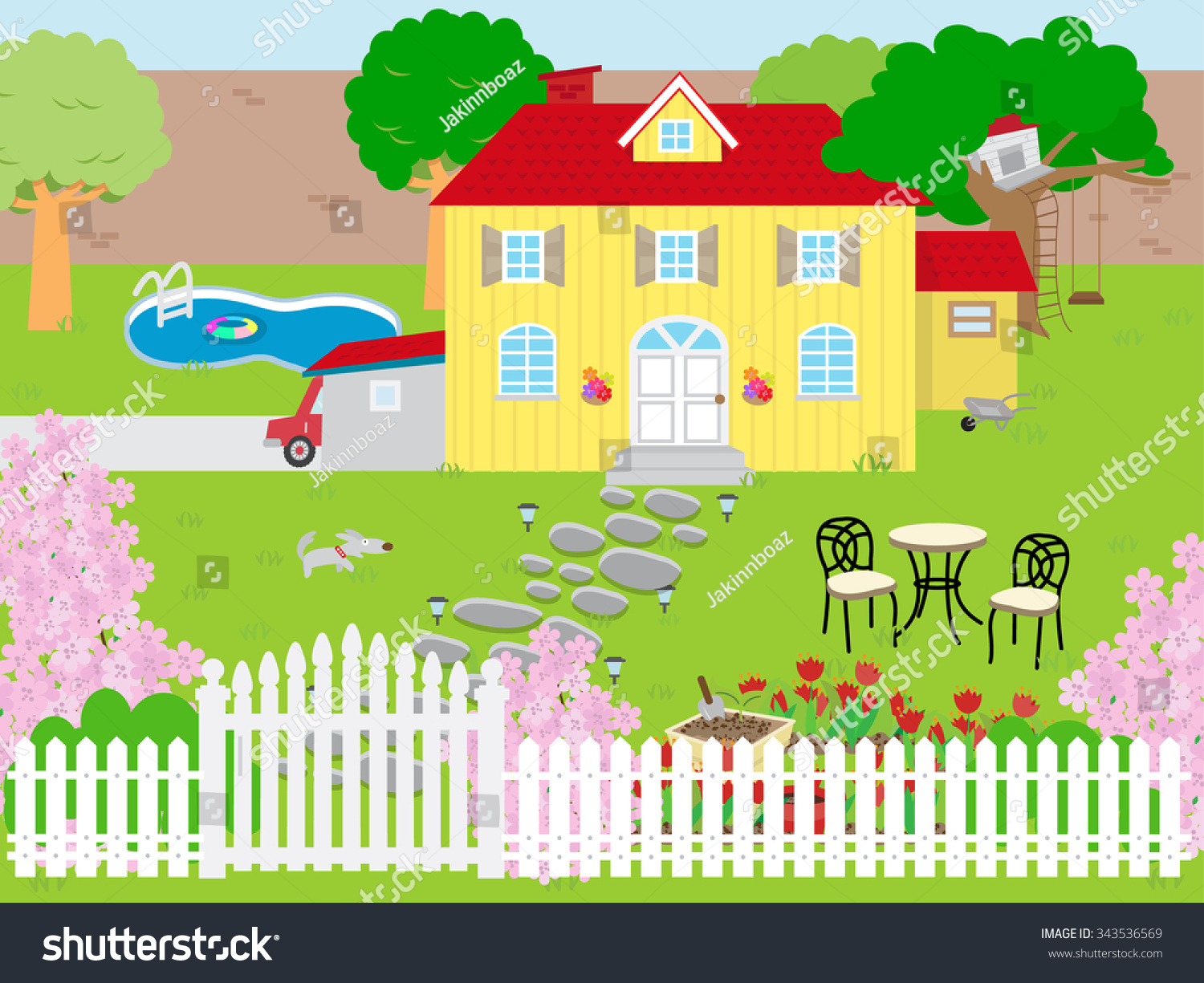 Picture Beautiful House Garden Stock Image Download Now