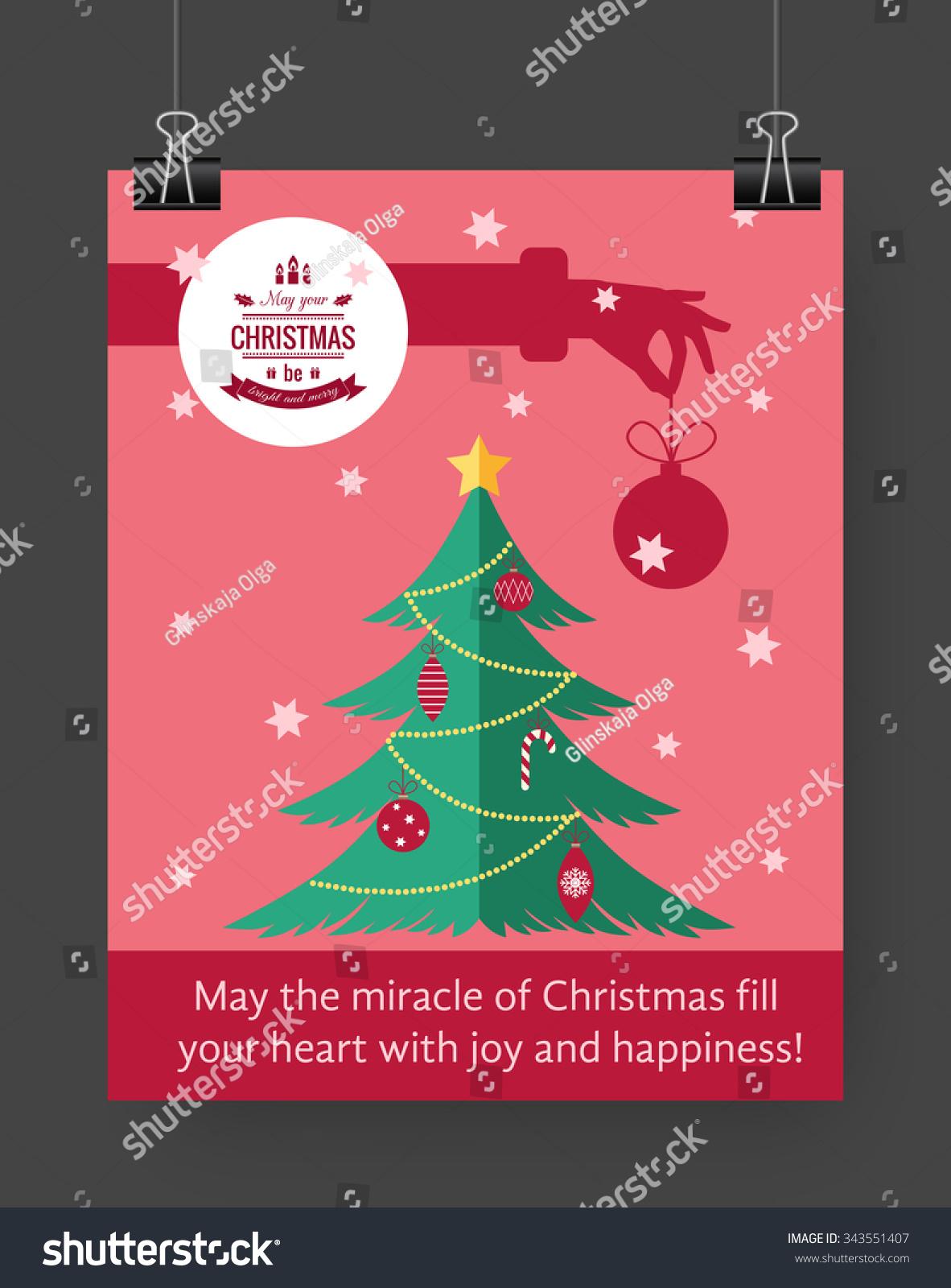 Christmas Brochure Template Flat Flyer Design Stock Vector Hd