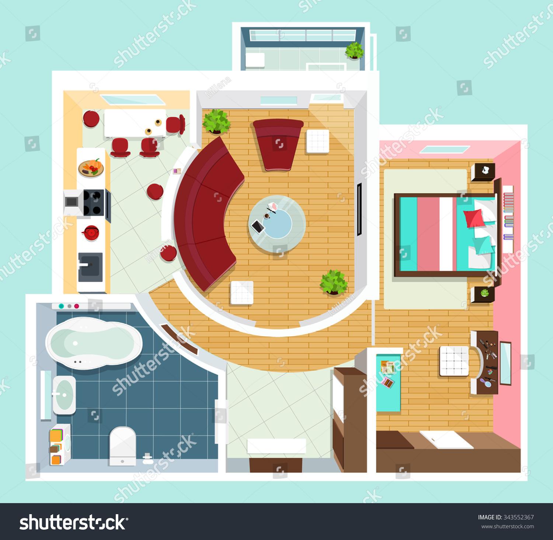 modern detailed floor plan apartment furniture stock vector modern detailed floor plan for apartment with furniture top view of apartment vector flat