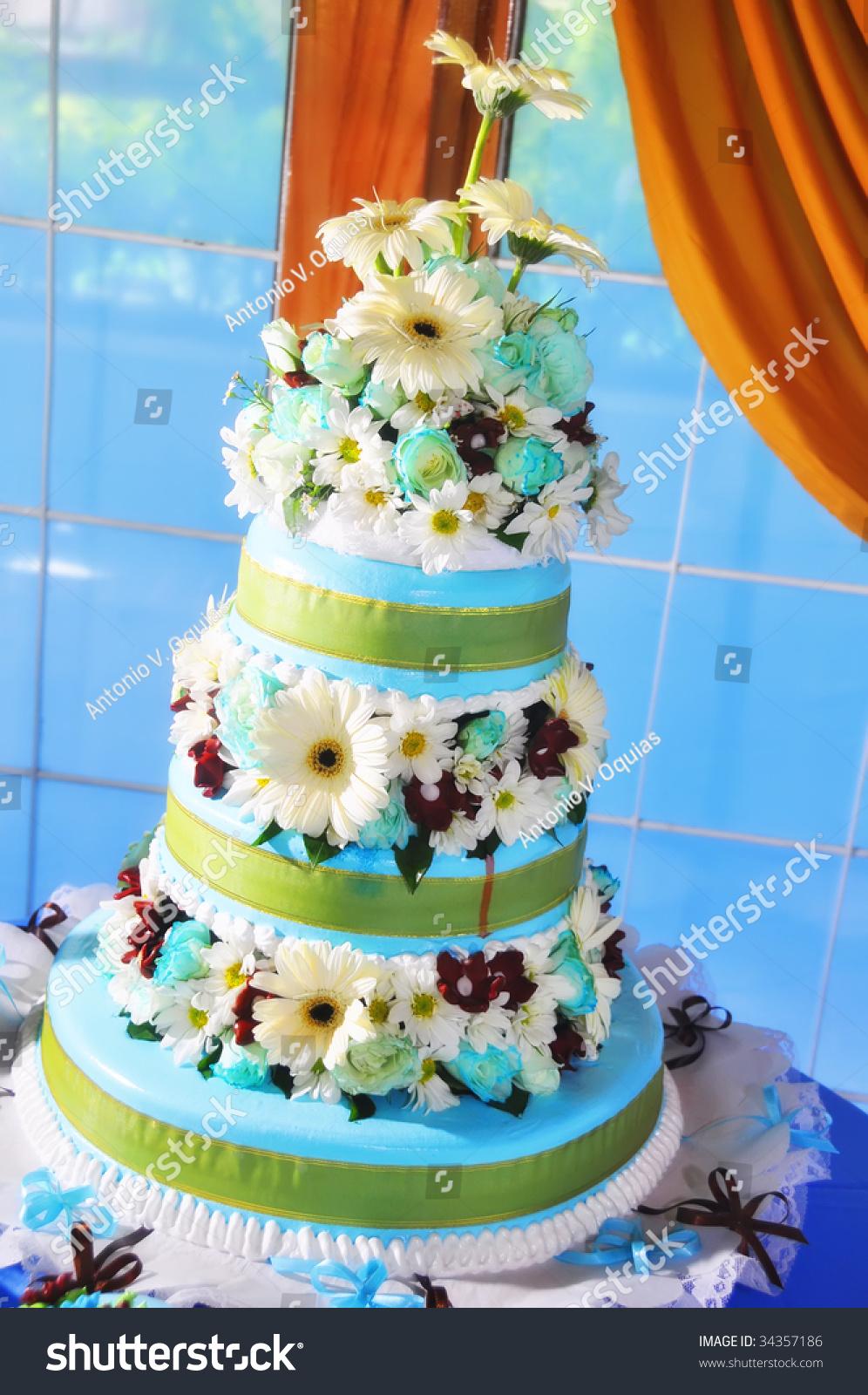 Layered Wedding Cake Against Window Stock Photo 34357186 - Layered Wedding Cake