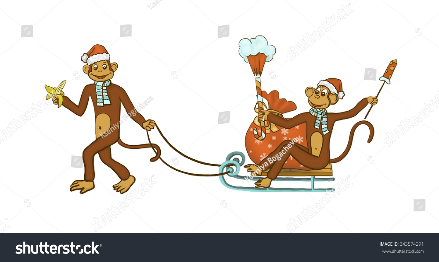 new year christmas monkey and a banana with a sack sleigh