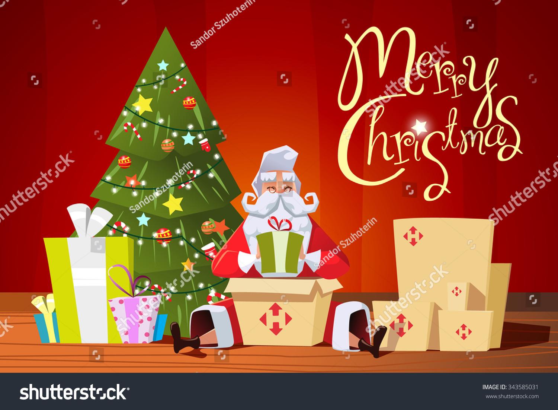 Santa Gifts Packs Send Christmas Greeting Stock Vector (Royalty Free ...