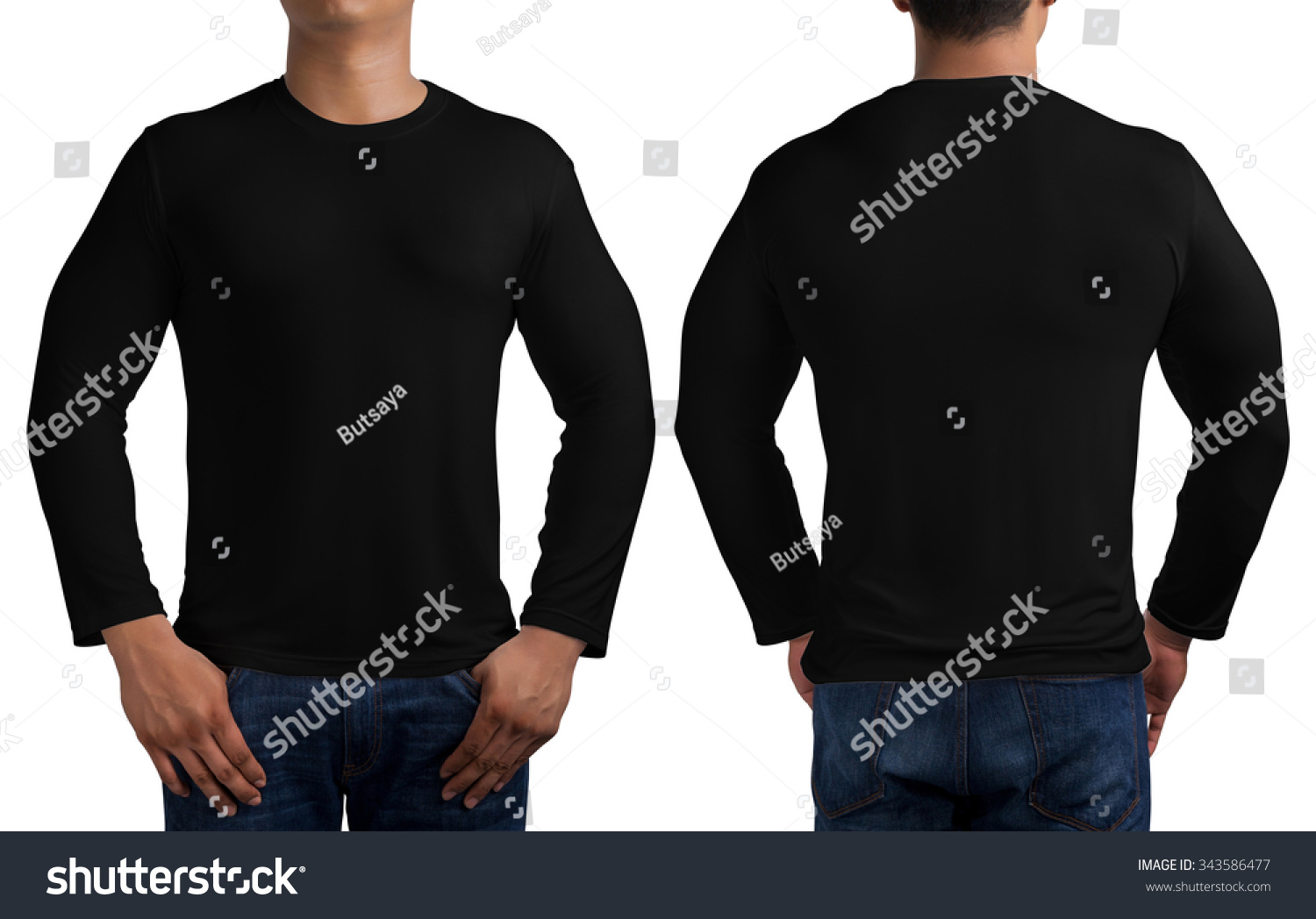 Black t shirt back and front - Man Body In Black Long Sleeves T Shirt Isolated On White Background Front And Back Stock Photo