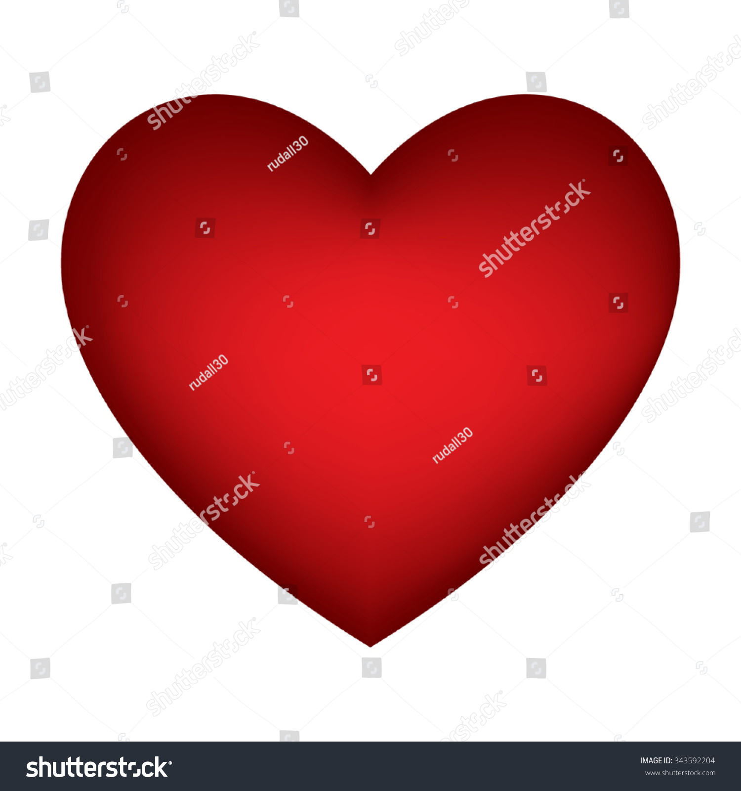 Red Heart Symbol Isolated On White Stock Vector Royalty Free