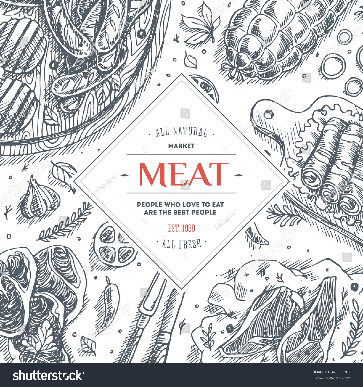 Meat Market Frame Linear Graphic Top Stock Vector (Royalty Free ...