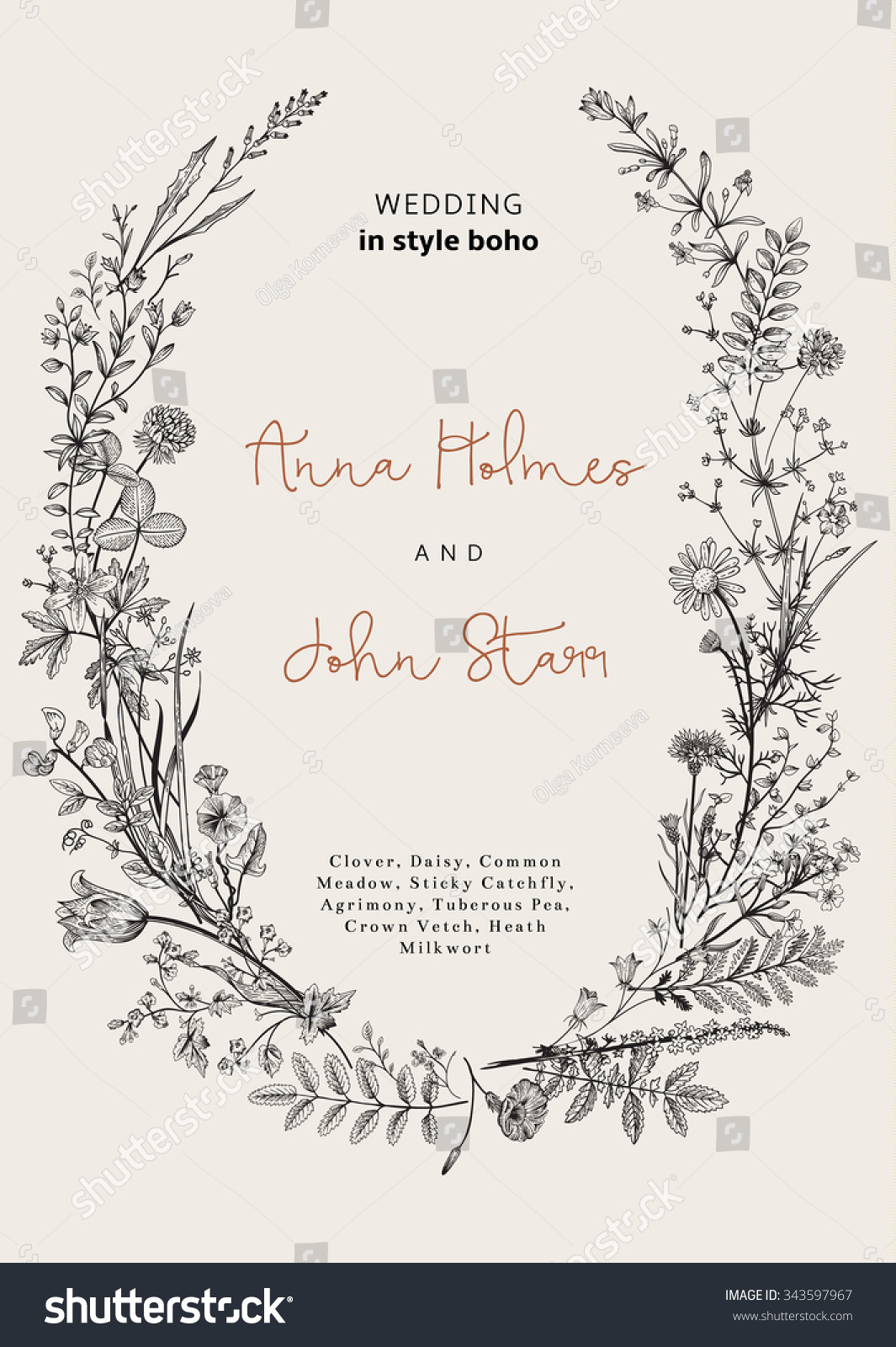 The Wreath Of Wild Flowers. Wedding Invitation In The ...