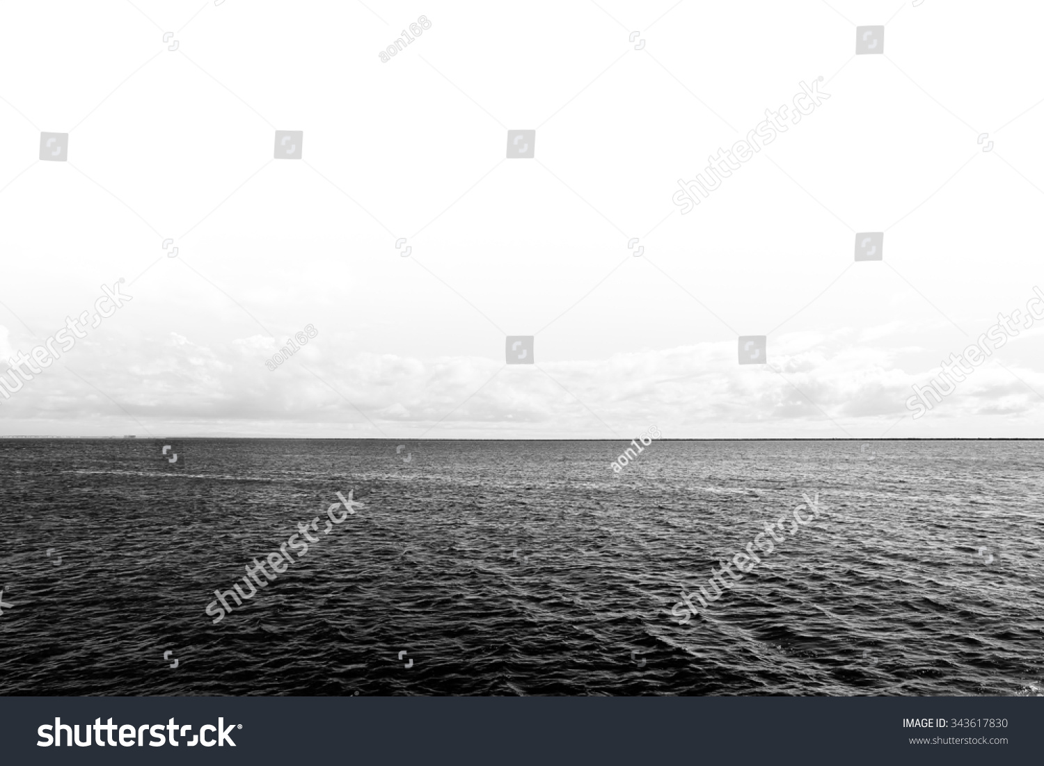 Black and white filter effect of deep blue sea in pacific ocean and clear sky