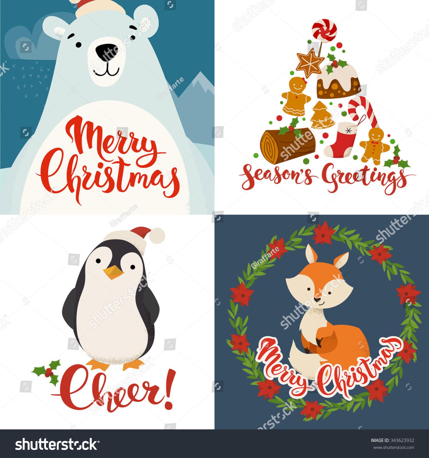 Merry Christmas Vector Cards Funny Christmas Stock Vector Royalty