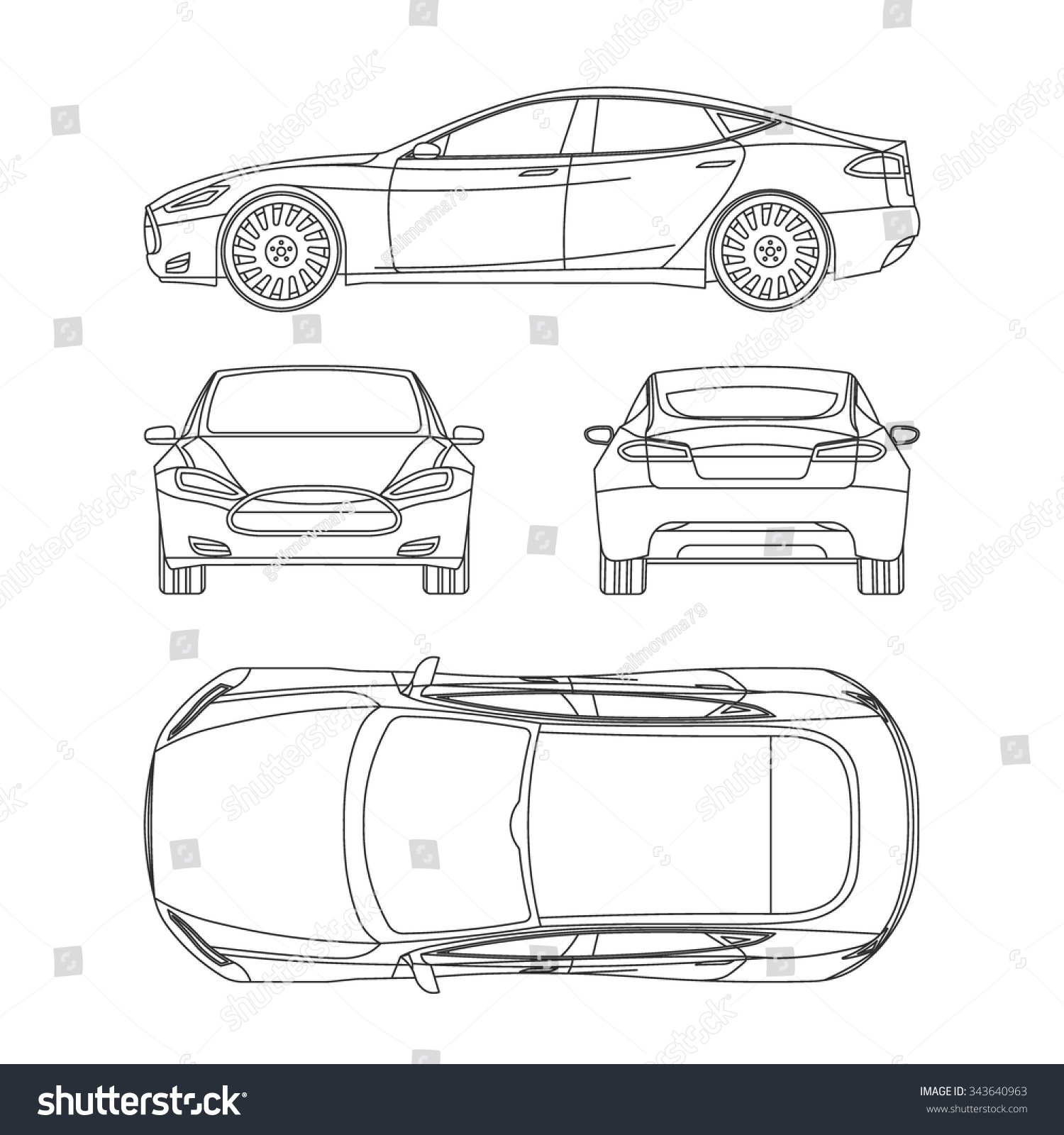 Vector Drawing Lines Game : Car line draw blueprint front four stock vector