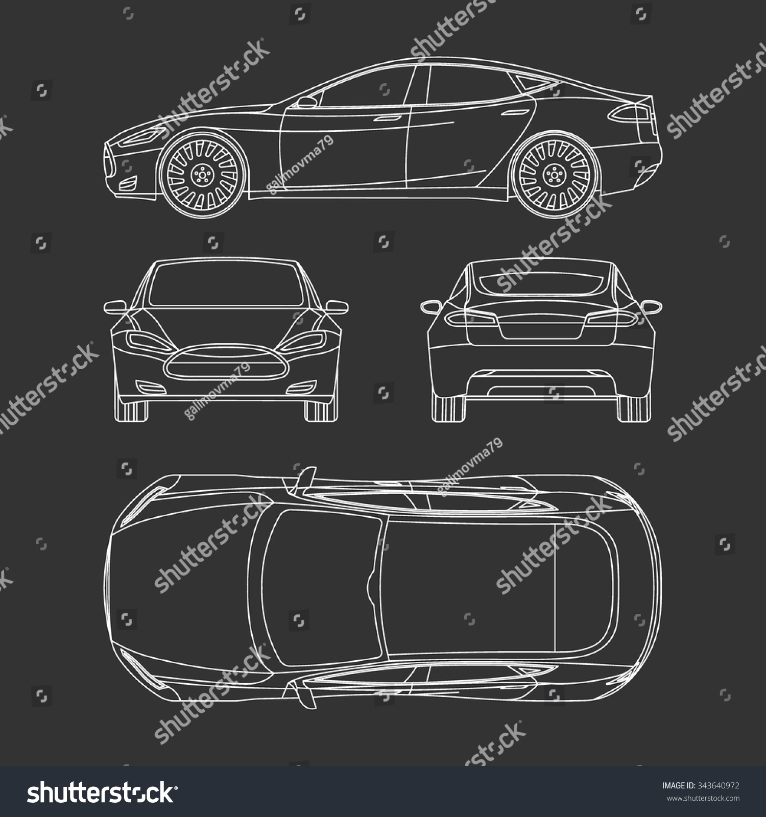 Royalty free car blueprint front four view side top 343640972 car blueprint front four view side top back all 343640972 malvernweather Gallery