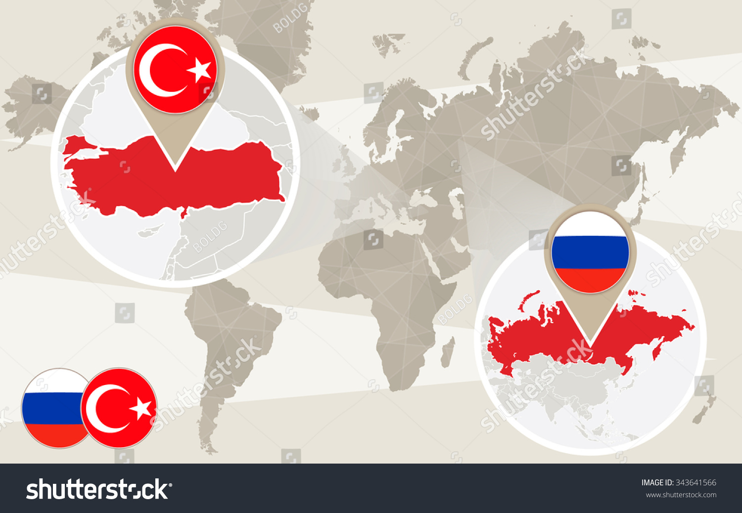 Turkey Map Of World.World Map Zoom On Turkey Russia Stock Vector Royalty Free