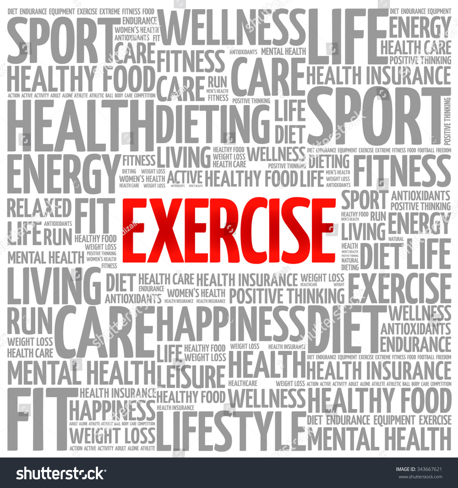 Workout Words: Exercise Word Cloud Background Health Concept Stock Vector