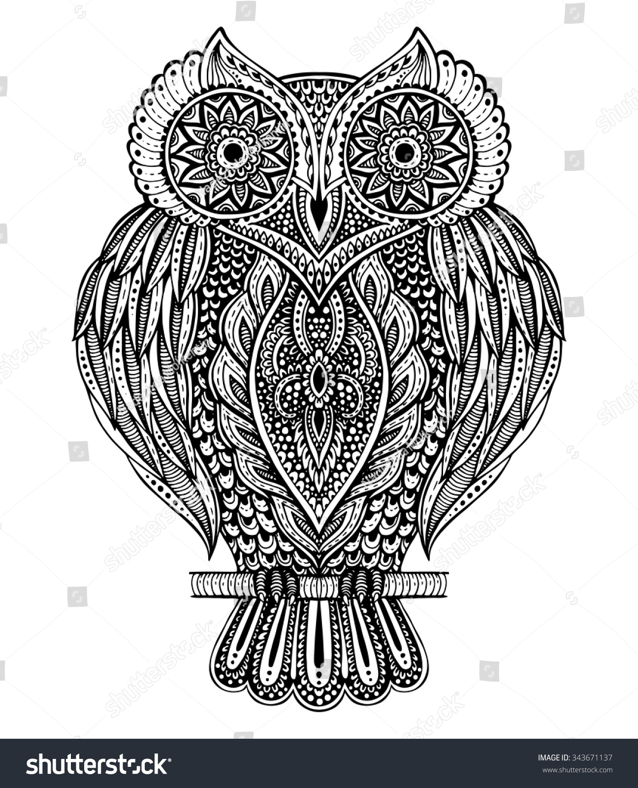black white vector hand drawn ornate stock vector 343671137