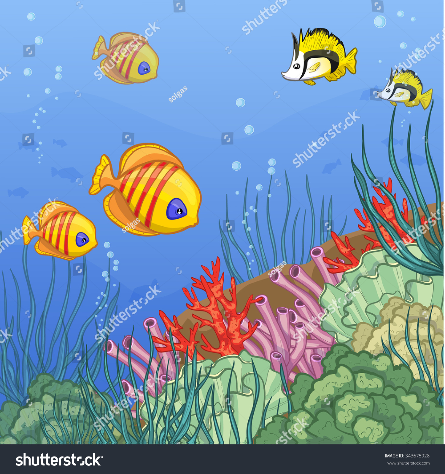 Underwater World Coral Reefs Colorful Tropical Stock