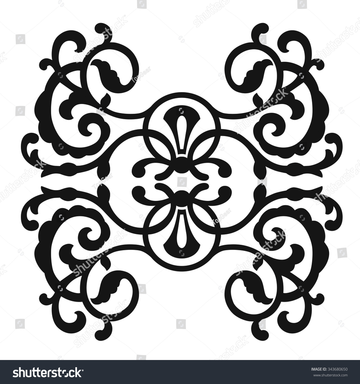 Antique Scroll Patterns: Vintage Baroque Frame Scroll Ornament Engraving Stock