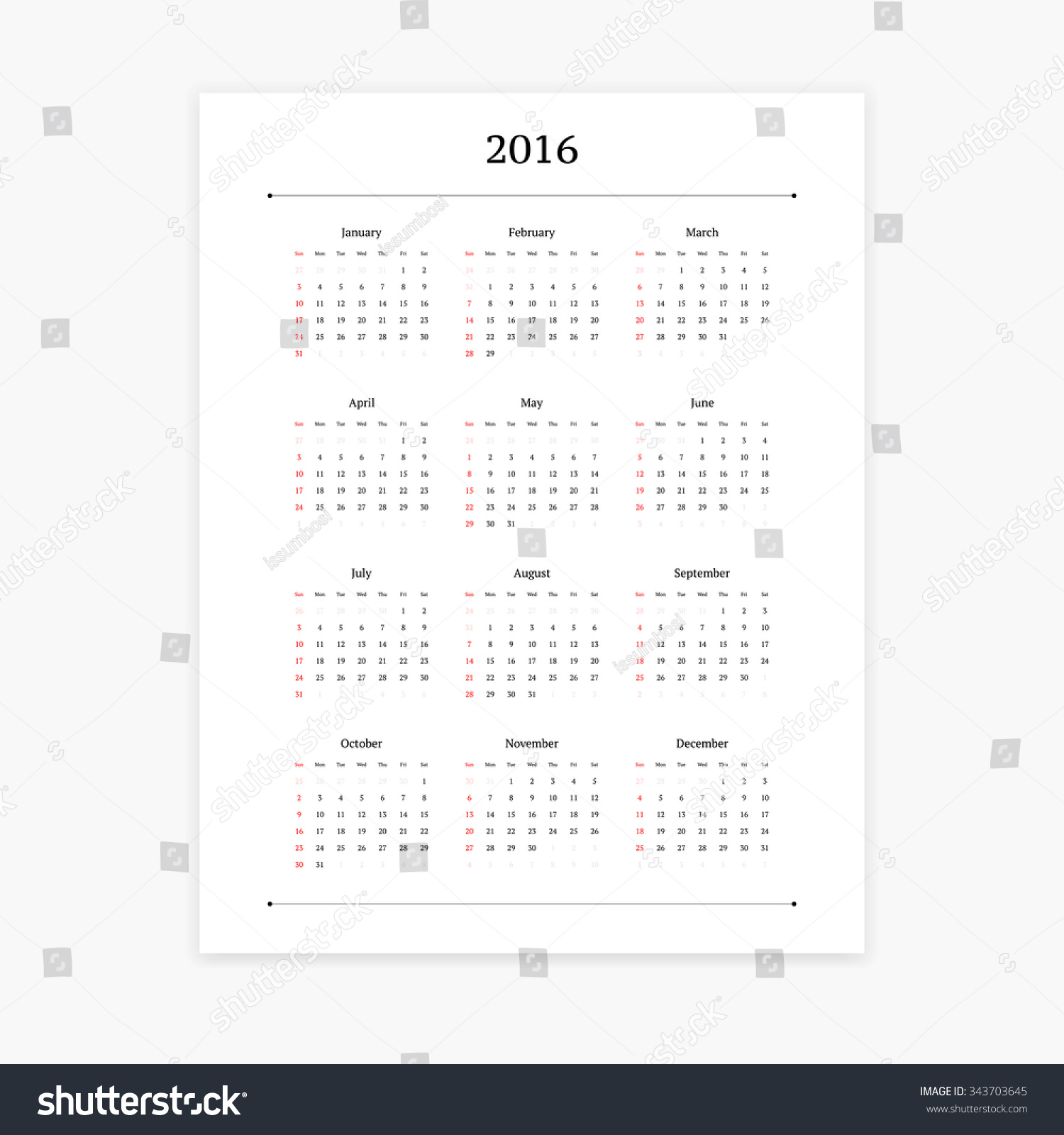 Minimalist Calendar Template : Simple clean calendar vector template stock