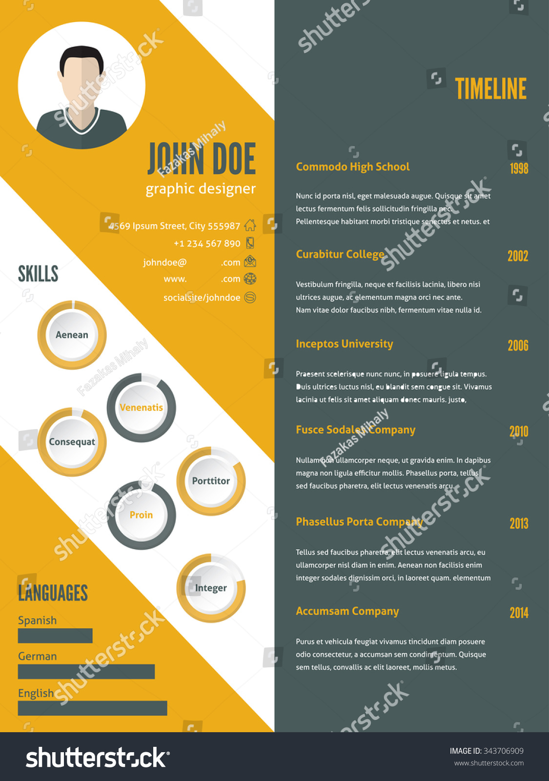 new modern resume cv curriculum vitae stock vector 343706909 new modern resume cv curriculum vitae template design photo