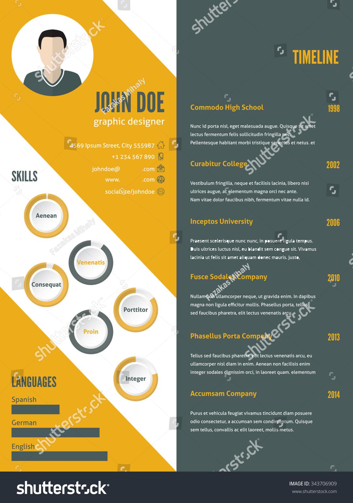 new modern resume cv curriculum vitae stock vector 343706909 new modern resume cv curriculum vitae template design photo